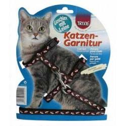 Szelki dla kota ze smyczą regulowane z wzorem