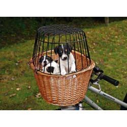 Kosz wiklinowy na rower z kratą Trixie