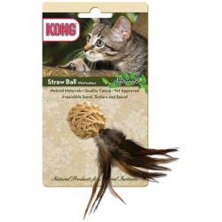 Kong zabawka dla kota kula słomiana z piórami