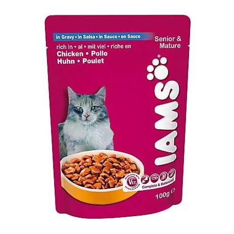 IAMS SENIOR CHICKEN, saszetka dla kotów starszych z kurczakiem w