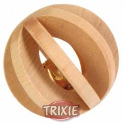 Piłka drewniana z dzwonkiem dla gryzoni 6cm Trixie