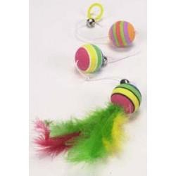 Trzy piłki na gumce z piórkiem Trixie