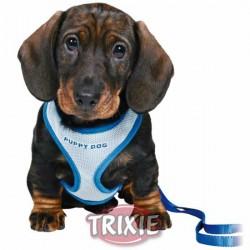 Miękkie szeleczki ze smyczą dla szczeniaka niebieskie Trixie